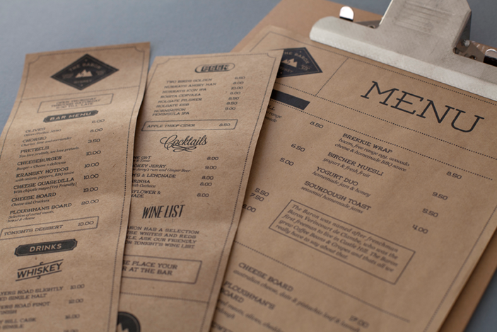 Brown Craft Paper Menus